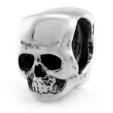 Skull Genuine Solid Sterling Silver Charm OHM Bead WHA004