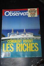 Le Nouvel Observateur N°1237 1988 / COMMENT VIVENT LES RICHES - SERIE NOIRE