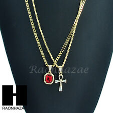 HIP HOP MINI RICH GANG RED RUBY & ANKH CROSS ROPE CUBAN CHAIN NECKLACE SET KN005