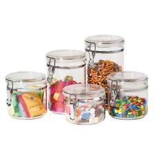 Oggi 9322 5-Piece Acrylic Canister Set with Airtight Clamp Lids-Food Storage New