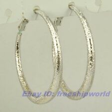 """1.5"""" REAL CHIC 18K WHITE GOLD GP HOOP EARRING SOLID FILL GEP FROSTED RING EARBOB"""