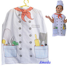 NEW Kids White Chefs Apron Child's Costume Halloween Party 5-8Y