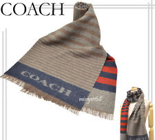 NWT Coach 95% Wool 5% Cashmere Bariegated Stripe Woven Scarf 85135 Rust/Grey