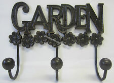 Cast Iron Wall Rack Garden 3 Hooks for Hat, Coats,Keys, Hook, French Provincial