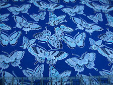 3 Yards Quilt Cotton Fabric - Fabric Traditions Butterflies Blue & Turq on Blue