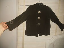 NWT Ischiko Austria~Sold at Oska~Art to Wear~Br Microfiber Boxy 'Button'' Jacket