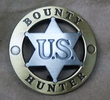 Style #2    U.S. Bounty Hunter Badge    Round/Center Star Gold tone Trim