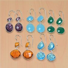 925 SOLID STERLING SILVER WHOLESALE 5PAIR CITRINE& MIX STONE LONG EARRING LOT