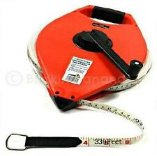 HEAVY DUTY LONG OPEN REEL 100M 330FT FIBREGLASS SURVEYORS MEASURING TAPE MEASURE
