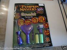 New GLOW-IN-THE-DARK KIDS PUMPKIN CARVING KIT Masters Halloween Decorating Child