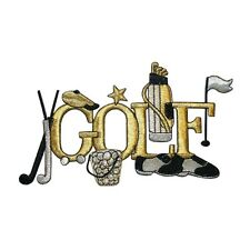 ID 5037 Gold and Silver Golf Theme Sport Embroidered Iron On Applique Patch