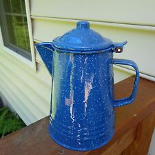 Vintage Blue Enamelware Speckled Coffee Pot/ Pitcher w/lid Camping/Country Decor