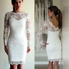 Short Beach Lace Long Sleeve Wedding Dress Bridal Gown Custom Size 2 4 6 8 10 12