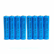 8 x AAA 3A 1150mWh 1.6V Volt NiZn Rechargeable Battery Power LR03 HR03 Blue