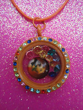 Living Memory Multi Crystal Orange Round Locket with 7 crystals and charm USA