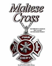 FIRE FIGHTER NECKLACE FIREMAN MALTESE CROSS FIREFIGHTER EMERGENCY RESCUE C24sm*