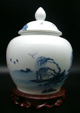 POT A THE WULONG PUER PORCELAINE BLEU BLANC CHINE JINGDEZHEN PEINT A LA MAIN