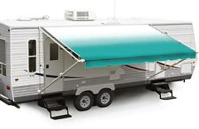 """17' Teal Fade w/Wht W/G, RV Patio Awning Repl. fabric canopy (Fabric:16'2"""")"""