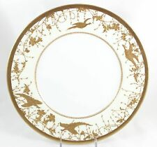 FINE ANTIQUE COLLECTOR DINNER PLATE ROYAL DOULTON BONE CHINA GOLD PASTE BIRDS