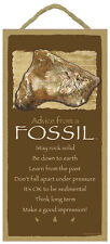 ADVICE FROM A FOSSIL Wood INSPIRATIONAL SIGN wall hangiing NOVELTY PLAQUE New