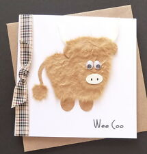 Handmade 'Wee Coo' Highland Cow Card / Scottish
