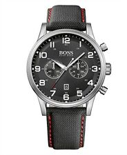 Hugo Boss Men's 1512919 Aeroliner Chronograph Black Dial Black Canvas Watch