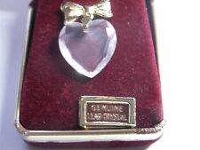 Vintage President's Club Avon Pin Lead Crystal Heart With Bow 1982 NIB Sales