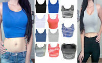 Womens Stripes Racer Back Crop Top Ladies Sleeveless Stretch Vest T Shirt 8-14
