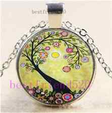 New Tree Of Life Cabochon Glass Tibet Silver Chain Pendant Necklace