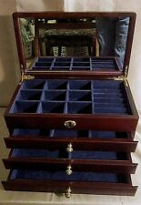 SOLID WOOD JEWELRY CHEST w/Rosewood Stain, Solid Brass Hardware, 4 Compartments