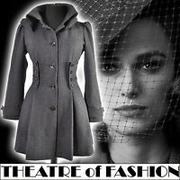 TOPSHOP COAT JACKET VINTAGE 8 6 36 40s WAR BRIDE 50s VICTORIAN RIDING CORSET