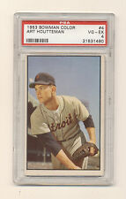 1953 BOWMAN COLOR Art Houtteman #4 PSA 4 VG-EX NQ Detroit Tigers! Clean Back!