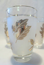 7 Vintage Libbey Gold Leaf Frosted Glasses Circa 1950's