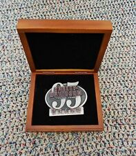 Harley Davidson Limited Edition 95th Anniversary Belt Buckle ETCHED Wood Box EXC