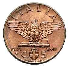 5 CENTESIMI IMPERO ITALY 1939 FIOR DI CONIO RAME ROSSO