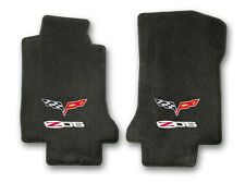 2006-2007 Corvette Coupe 2pc Black Carpet Floor Mats with Z06 & Flags Logo