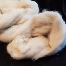 "Combed Mink Fur 100% Roving Natural Off White combed top very soft 1.3"" long"