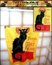 BATH TOWEL BLACK CAT LA TOURNEE DU CHAT NOIR STEINLEN ART FRANCE GATO NEGRO NERO