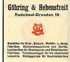 Göhring & Hebenstreit Radebeul-Dresden BACKÖFEN Trademark 1912