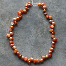 Fresh Water Pearl Waterdrop-shaped Orange Beads Strand for crafting & jewelry