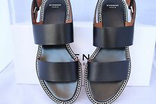 $695 GIVENCHY BLACK LEATHER CHAIN CHAINED SLINGBACK FLATS FLAT SANDALS SHOES 37