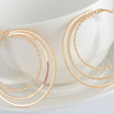 1Pair Earrings Hoop Dangle Drop Vogue Three Layers Jewelry Light Golden