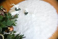 "58"" Round Christmas Faux Fur Snow White Area Rug Sheepskin   Accents"