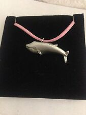 Blue Whale R42 Pewter Pendant on a PINK CORD Necklace