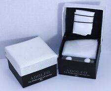 Adolfo White Diamond Embossed Tie, Cuff links and Pocket Square Gift Set