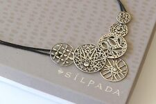 Silpada Cubic Zirconia Filigree Circle Sterling Silver Leather Necklace N2343