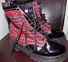 Demonia Plaid & Patent Leather British Punk Combat Boots Red Black EUC 9