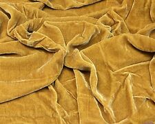 "SILK RAYON VELVET GOLD SOLID FABRIC 45"" CLOTHING DRAPERY DRESSES YARD"