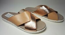 $99 size 9.5 Kenneth Cole Maxwell Rose Gold / Nude Leather Flat Slides Sandals