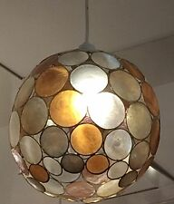 Champagne Gold Brown Cream CAPIZ Shell Circle Ceiling Pendant Shade RETRO NEW